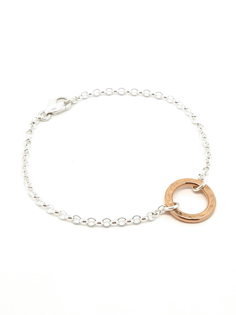 """Circle of Life"" small 18k rose gold Vermeil hammered ring bracelet"
