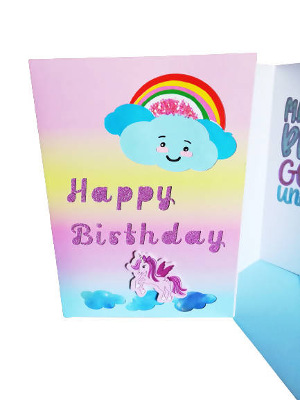 sparkly Unicorn Rainbow Cloud Birthday Card