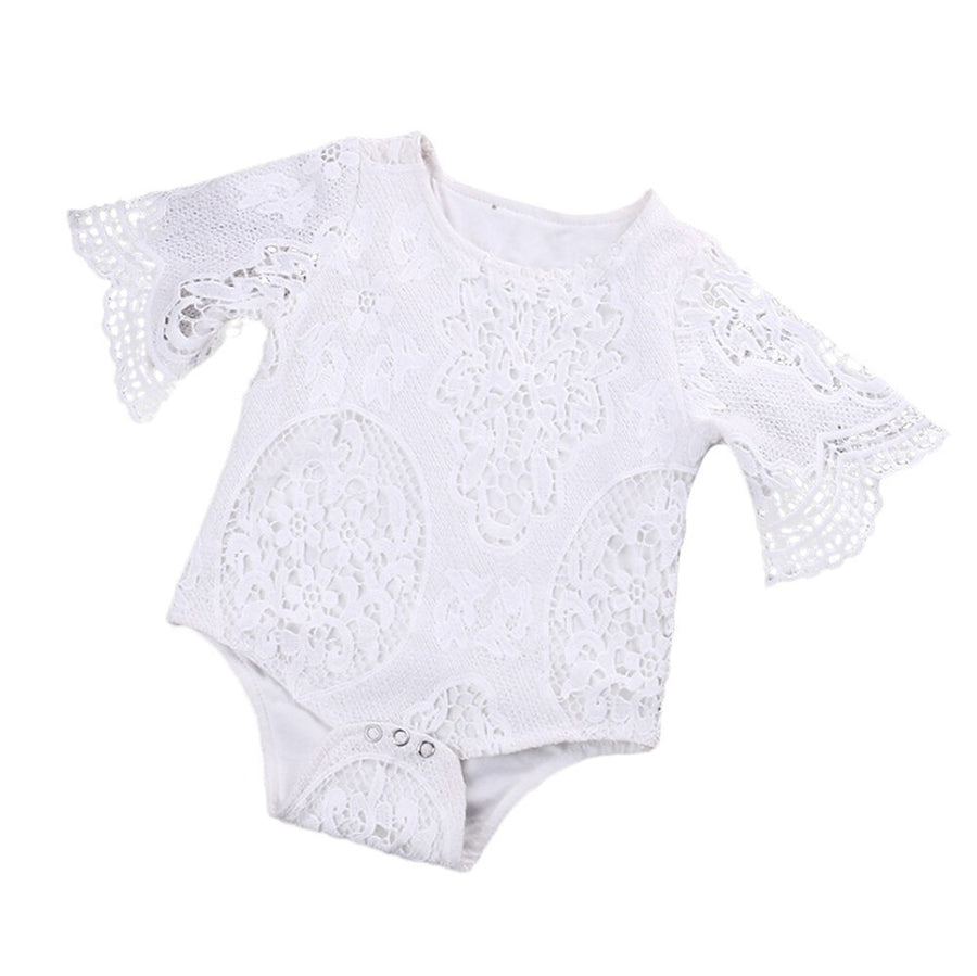 8832fbca99de 3m-24m Lovely Gifts Baby Girls White ruffles Sleeve hollow Romper Newborn  Baby Infant Lace