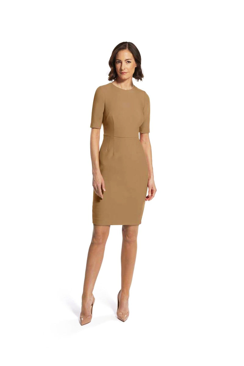 front view of woman 1 wearing the camel alpha dress captivating camel collection