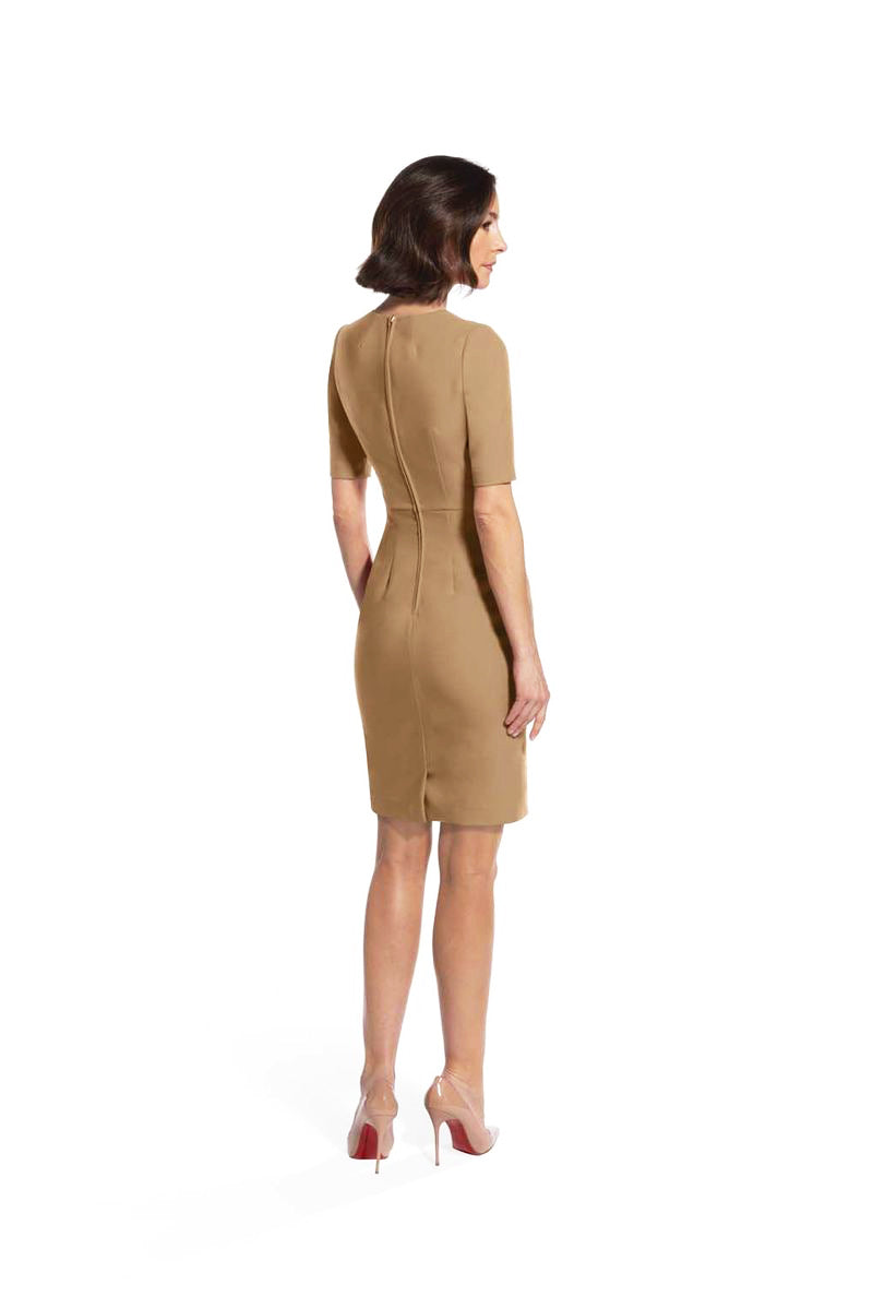 back view of woman 1 wearing the camel alpha dress Captivating Camel Collection hover