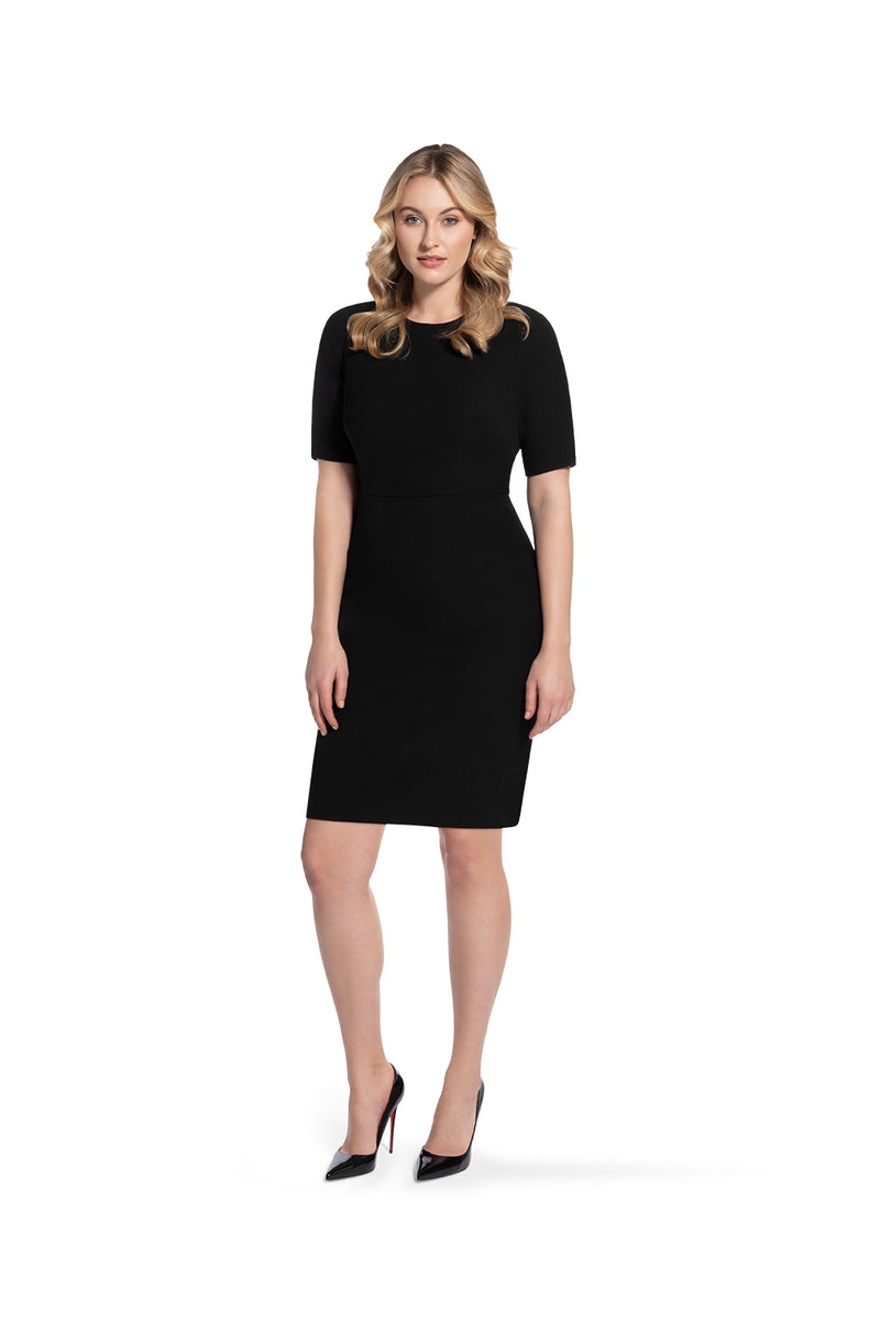 front view of woman 2 wearing the black alpha dress bring it on black collection
