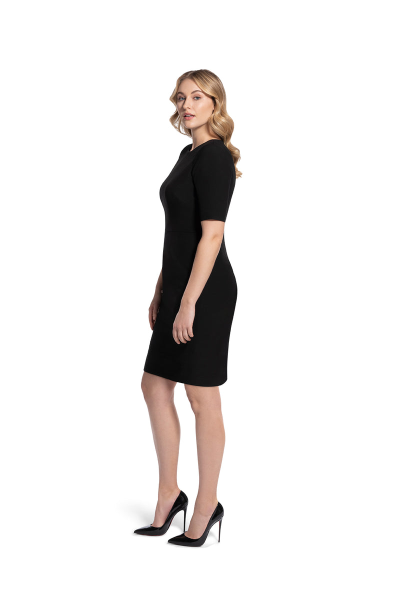 angled front view of woman 2 wearing the black alpha dress bring it on black collection