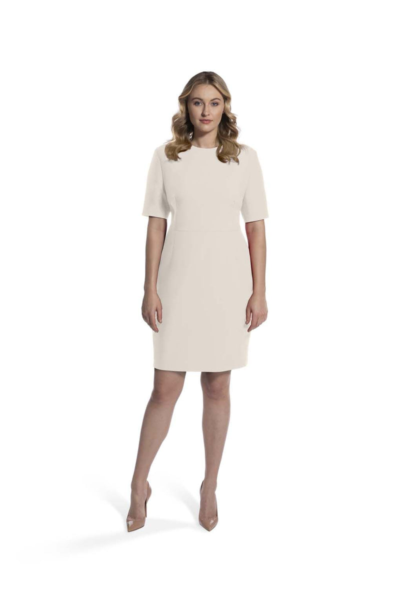 front view of woman 2 wearing the ivory alpha dress collection