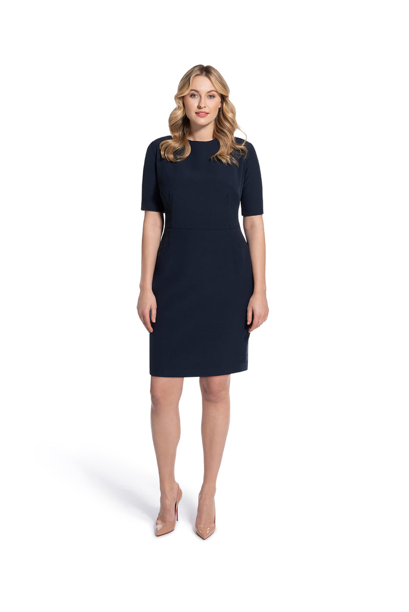 front view of woman 2 wearing the navy alpha dress not your average navy collection