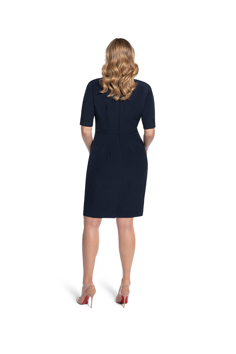 back view of woman 2 wearing the navy alpha dress Not Your Average Navy Collection hover Collection
