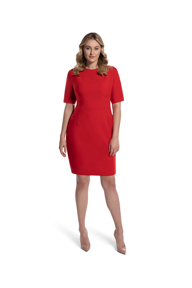 front view of woman 2 wearing the red alpha dress relentless red collection