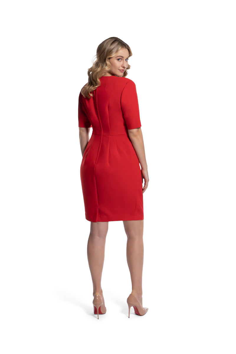 back view of woman 2 wearing the red alpha dress Relentless Red Collection hover