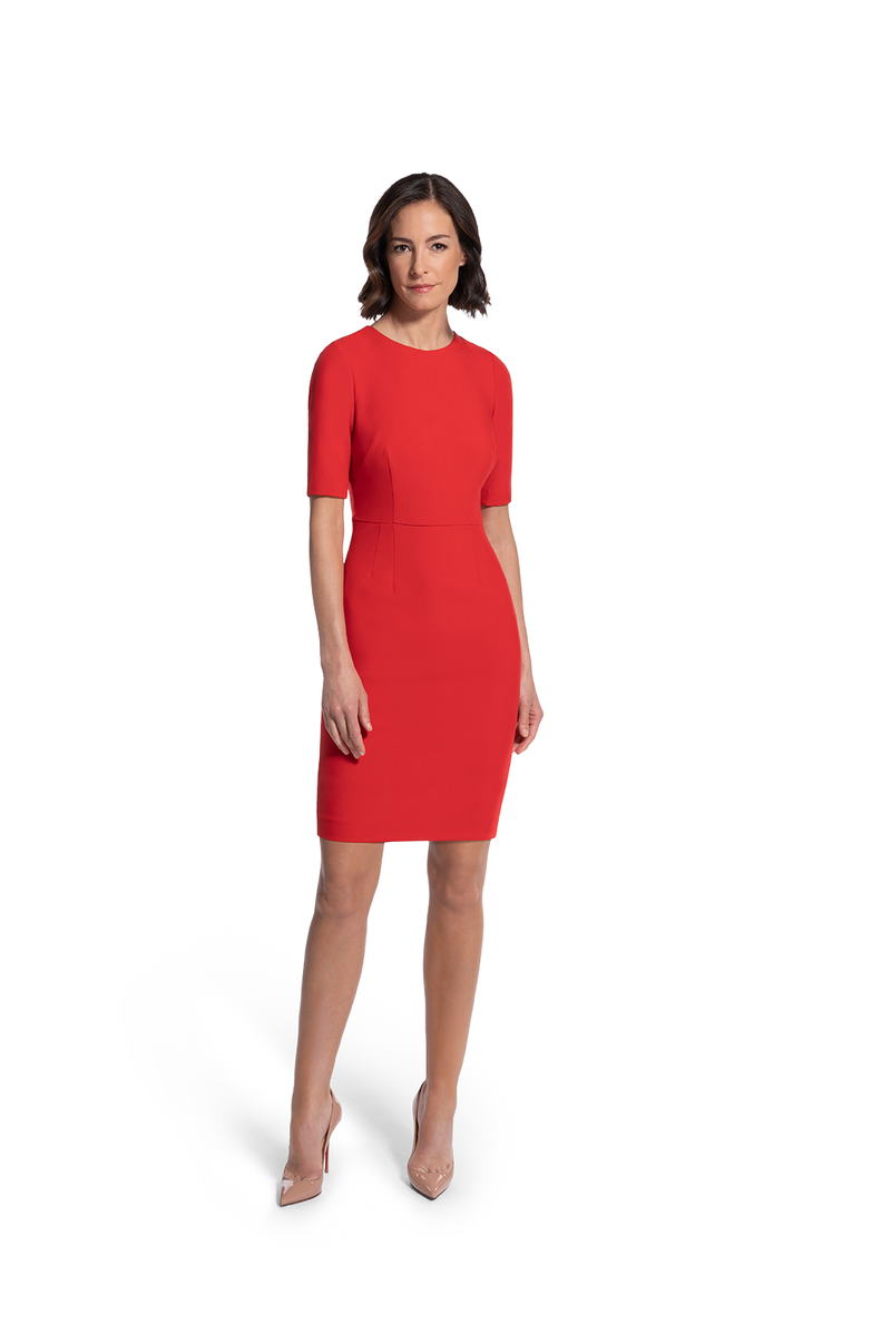 front view of woman 1 wearing the red alpha dress relentless red collection