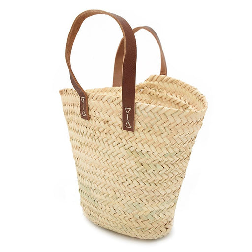 Chabichic High Palm and Leather Basket - Beige and Dark Brown - CCP.12.15PMF