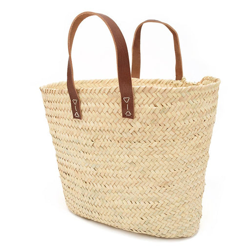 Chabichic High Palm and Leather Basket - Beige and Dark Brown, Large - CCP.12.15MMF