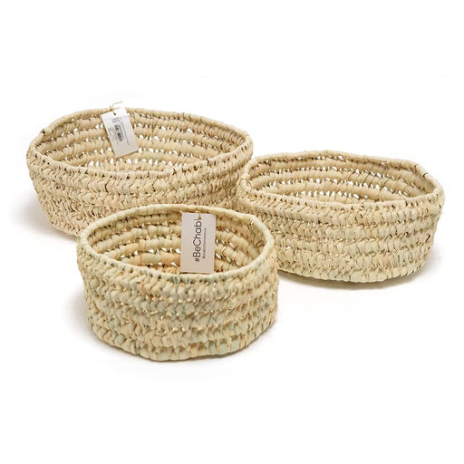 Chabichic Palm Round Base Baskets - Beige, 3 Piece - CCP.12.12