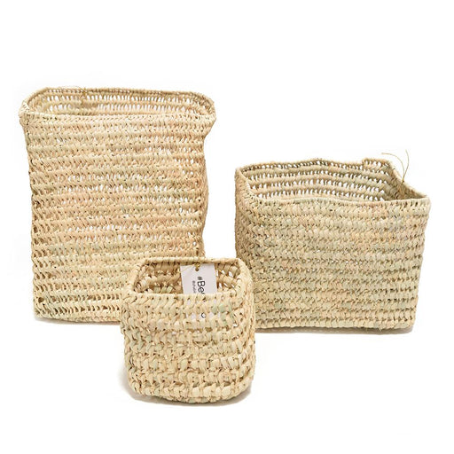 Chabichic Palm Square Base Baskets - Beige, 3 Piece - CCP.12.14