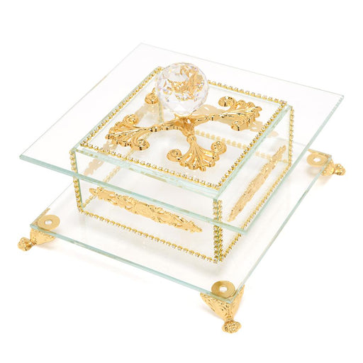 Debora Carlucci Glass Decorative Box with Metal Decor - Gold and Clear - DC5556/OR