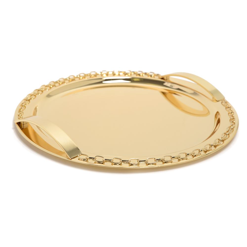 Pantazelos Gold Plated Set Chain Round Tray - Gold - Q-3080/GP