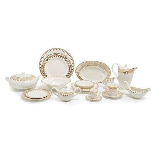 Porland Porselen Firuze Gold Dinner Set - 86 Piece - 04NEW86