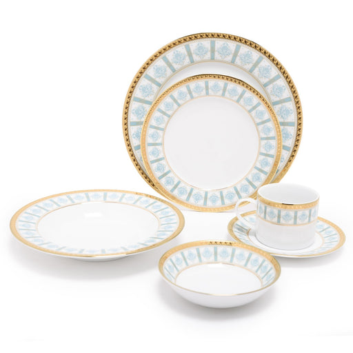 Dankotuwa Porcelain Moira Dinner Set - Light Blue and Gold, 24 Piece - MOI-24DS