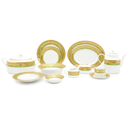 Dankotuwa Porcelain Berlinda Dinner Set - Light Green and Gold, 59 Piece - BERGRN-59DS