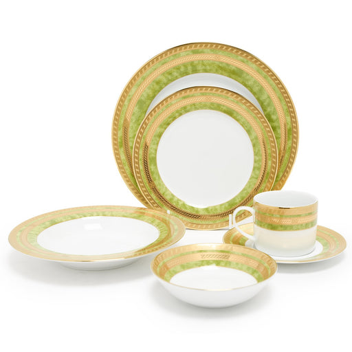 Dankotuwa Porcelain Berlinda Dinner Set - Light Green and Gold, 24 Piece - BERGRN-24DS