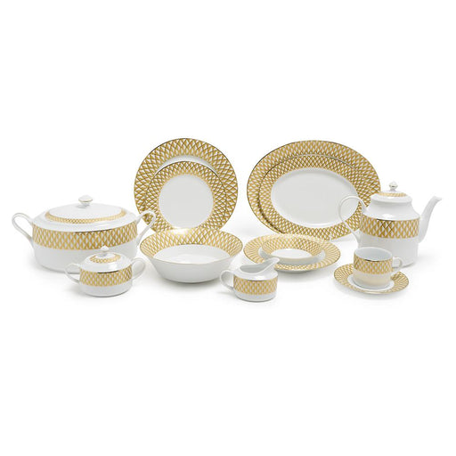 Dankotuwa Xenia Dinner Set - White and Gold, 59 Piece - XENA-59DS