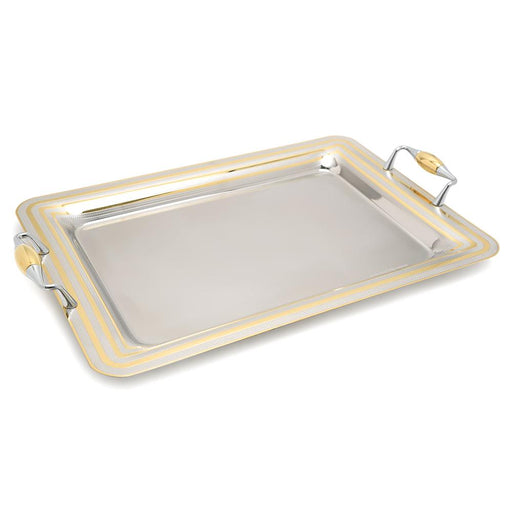 Brignani P.De Poule Gold Rectangle Tray - Silver and Gold, 50 x 35 cm - RO-1400/4/PDP-G