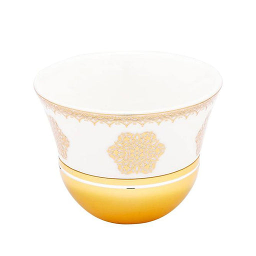 Amber Larisa 6 Piece Cawa Cups and Saucer - Gold, Set of 6 - AM3373-S28/026/12PC