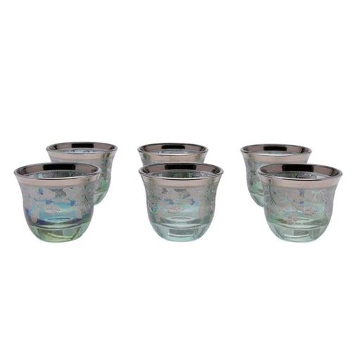 Combi Tiffany Mocca Cups - Platinum and Green, Set of 6 - G458P/48