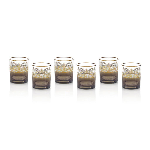 Combi Mavis Black Short Tumbler - Clear and Gold, Set of 6 - G534Z-BLK-27/1