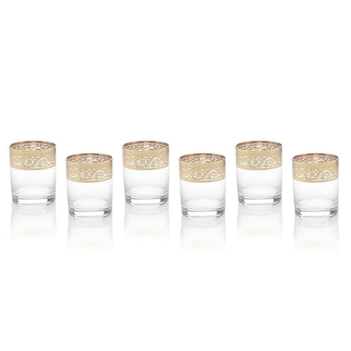 Combi Angelique Short Tumblers - Clear and Gold, Set of 6 - G369Z-27/1