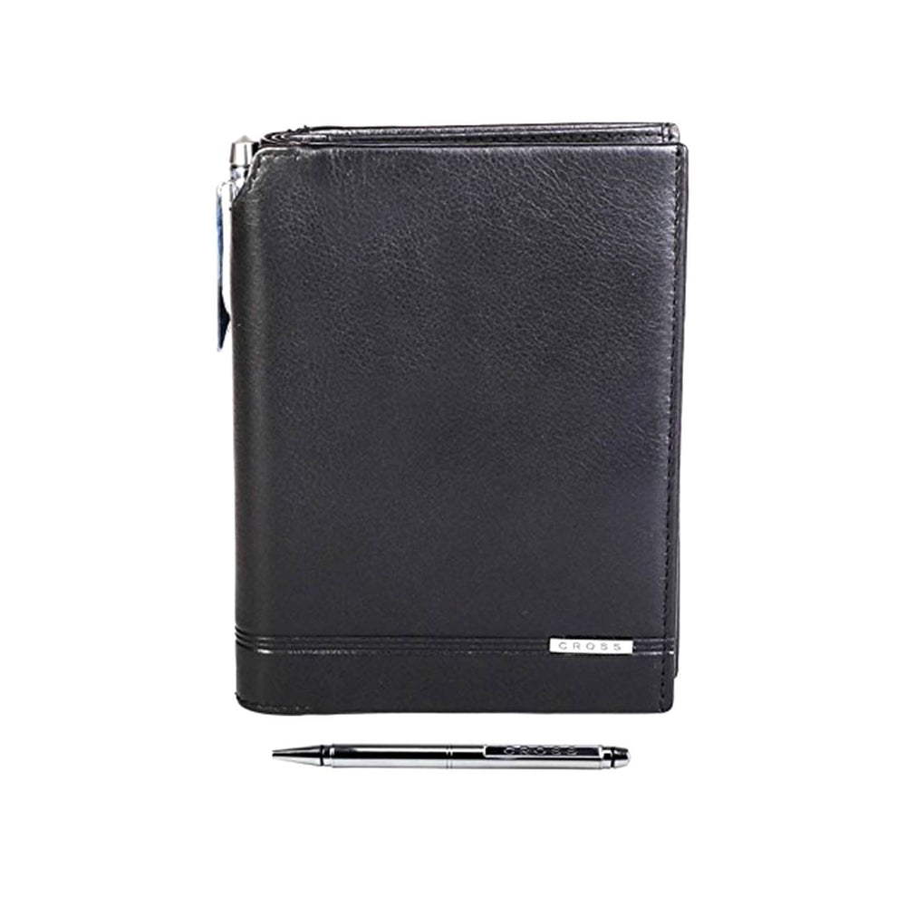 Cross Leather Classic Century Passport Wallet with Cross Leather Agenda Pen for Men Genuine Leather - Black - AC018389-1