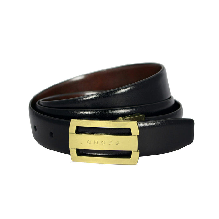 Cross Leather Almeria Cut To Fit Style Reversible Belt with 30mm Flat Buckle for Men Genuine Leather - Black and Brown XXL - AC328416N-XXL