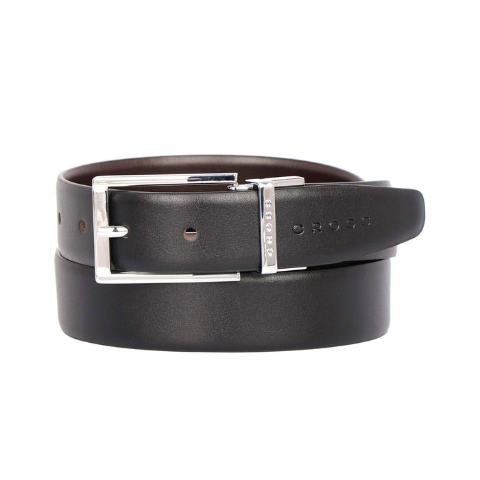 Cross Leather Santiago Cut-to-Fit Style Reversible Belt with 30mm Pronged Buckle for Men Genuine Leather - Black and Brown XXL - AC318491N-XXL