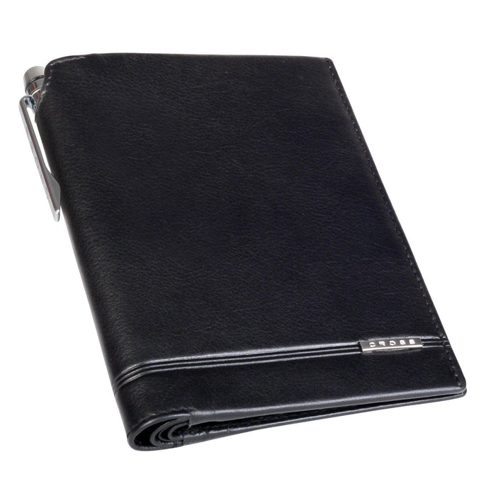 Cross Leather Unisex Classic Century Global Passport Wallet with Cross Leather Agenda Pen - Black (European Model) - AC018173N-1