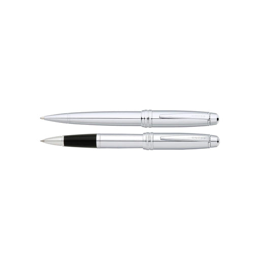 A. T. Cross Bailey Lustrous Chrome Ballpoint and Rollerball Pen Set - AT0458-10