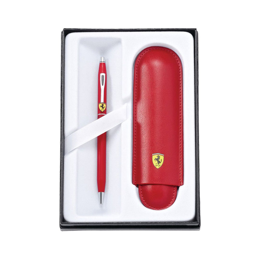 A. T. Cross Classic Century Collection for Scuderia Ferrari Matte Rosso Corsa Red Lacquer Ballpoint Pen and Rossa Corsa Red Leather Pouch Gift Set - FR0082-117/2