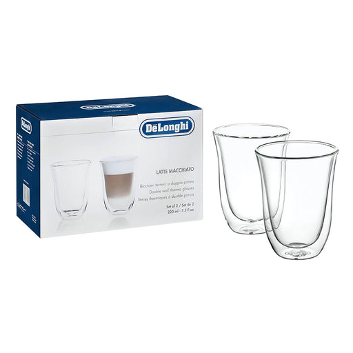De'Longhi 2 Piece Latte Macchiato Thermo Glasses - Clear - 5513214611