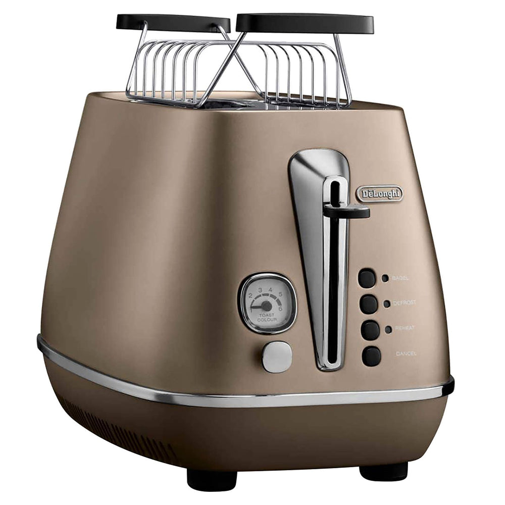 De'Longhi Distinta 2 Slots Toaster with Bun Warming - Bronze - CTI2103.BZ+BUN WARMING