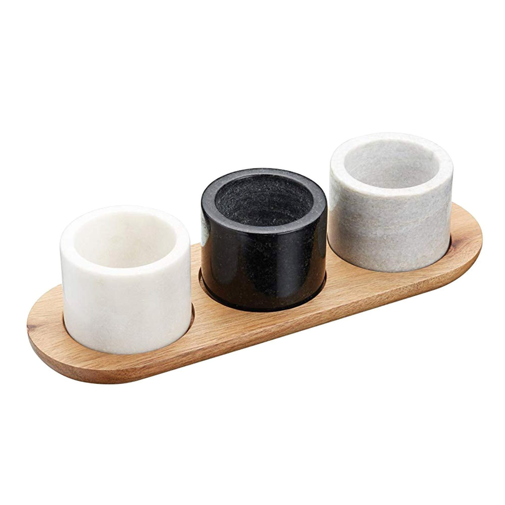 KitchenCraft Artesa Serving Bowl Set - White - Black and Brown, 3-Piece - ART3PCDIP