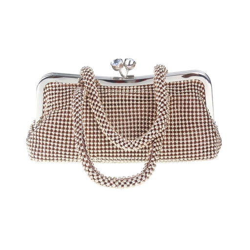 Moliabal Clutch Bag with Handle and Box for Women Beads and Crystals - Bronze - 950/B