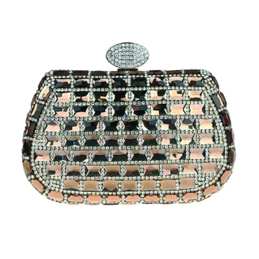 Moliabal Clutch Bag with Square Crystals and Box for Women - Gold - 951/A