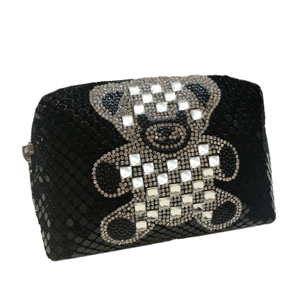 Moliabal Mini T Bear Crystal Pochette with Box for Women Nylon - Black - 910