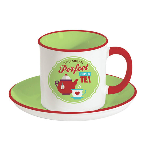 Easy Life Retro Break Tea Green Cup and Saucer Set - Green, 225 ml - R1403/RBTG