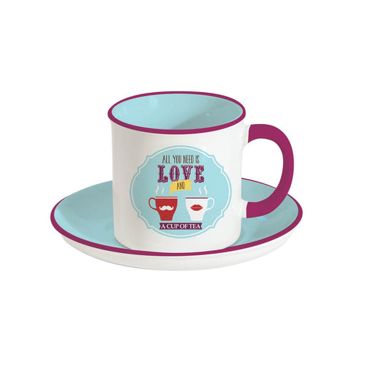 Easy Life Retro Break Tea Cup and Saucer Set - Light Blue, 225 ml - R1403/RBTL