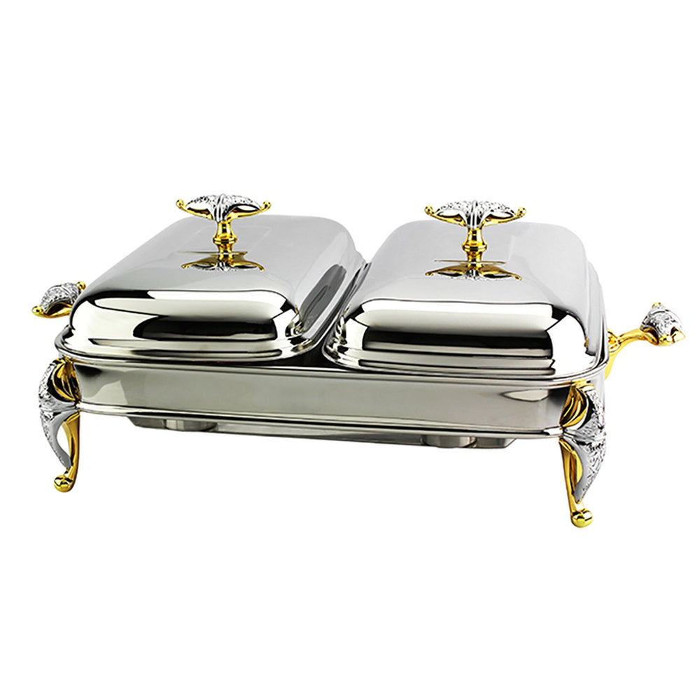 Regent Malaika SS Rectangular Warmer - Silver and Gold - 174346