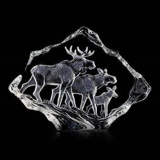 Maleras Wildlife Moose Family Crystal Sculpture - Clear - 33636