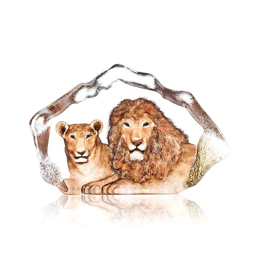 Maleras Wildlife Lion Crystal Sculpture - Yellow - 34112