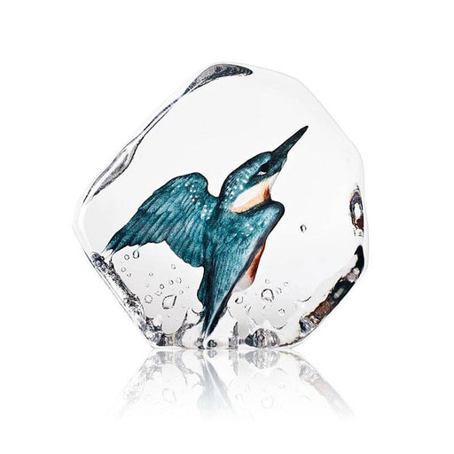 Maleras Wildlife Kingfisher Crystal Sculpture - Blue and Grey - 34177