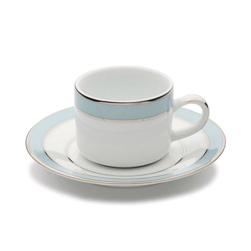 Dankotuwa Bella Coffee Cup and Saucer - White and Blue - BELLAB-92/93