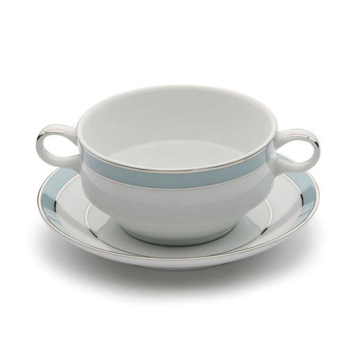 Dankotuwa Bella Blue Soup Cup and Saucer - White and Blue - BELLAB-SC/S