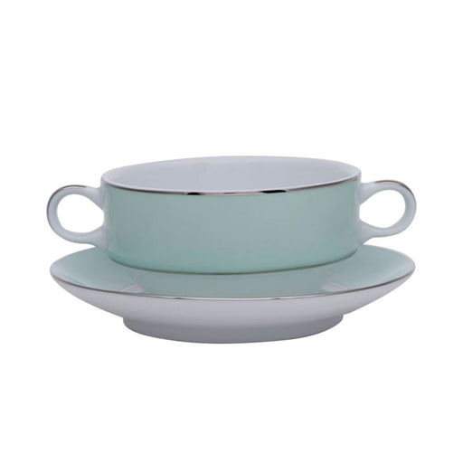 Dankotuwa Meldy Green Soup Cup and Saucer Set - White and Green - MELDYG-SC/S